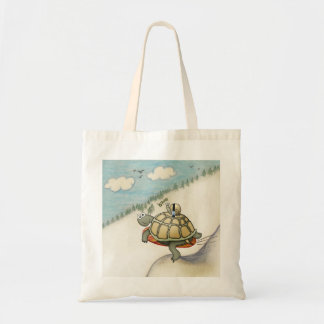 cartoon of tortoise and snail with seat belt tote bag