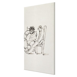 Cartoon of William Morris (1834-96) reading poetry Canvas Print