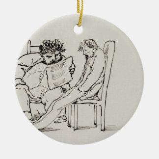 Cartoon of William Morris (1834-96) reading poetry Ceramic Ornament