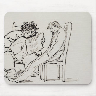 Cartoon of William Morris (1834-96) reading poetry Mouse Pad
