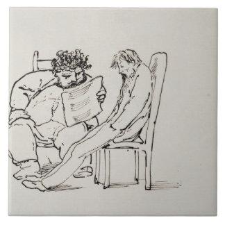 Cartoon of William Morris (1834-96) reading poetry Tile