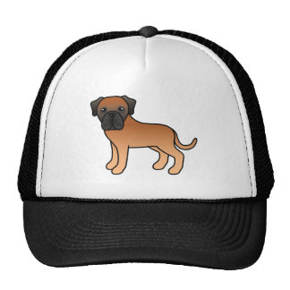 Cartoon Old English Mastiff Dog In Apricot Coat Trucker Hat