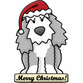 Cartoon Old English Sheepdog Christmas Ornament Photo Sculpture Ornament