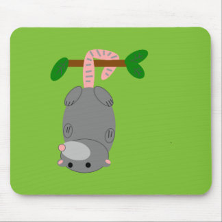 Cartoon Opossum/Possum Hanging Upside Down by Tail Mouse Pad