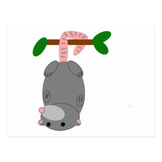 Cartoon Opossum/Possum Hanging Upside Down by Tail Postcard