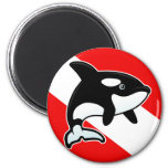 Cartoon Orca Dive Flag 2 Inch Round Magnet