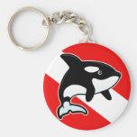 Cartoon Orca Dive Flag Basic Round Button Keychain