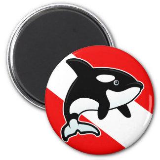 Cartoon Orca Dive Flag Magnet