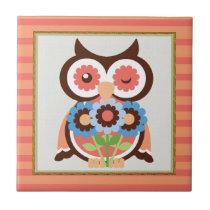 Cartoon Owl animal bird tile