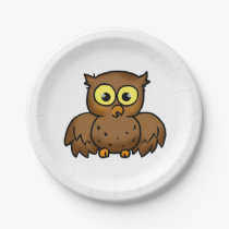 cartoon owl bird paper plate