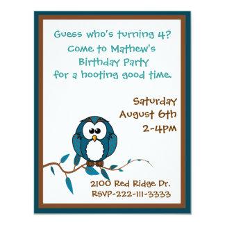 Cartoon Owl Birthday Invitation