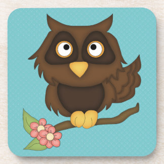 Cartoon Owl (brown) Beverage Coaster