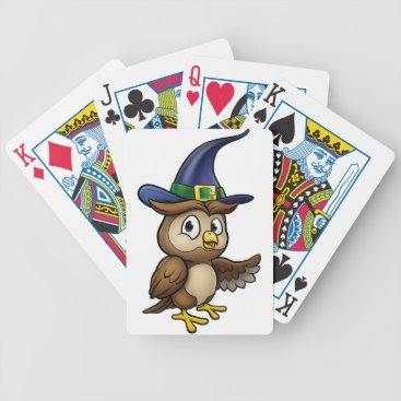 Halloween Themed Cartoon Owl Character Bicycle Playing Cards