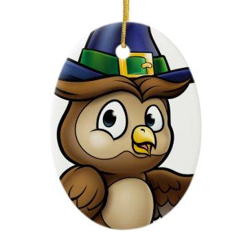 Halloween Themed Cartoon Owl Character Ceramic Ornament
