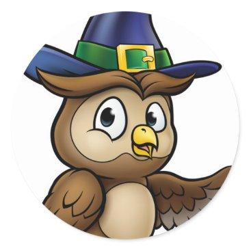 Halloween Themed Cartoon Owl Character Classic Round Sticker