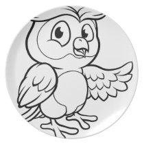 Cartoon Owl Character Dinner Plate