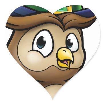 Halloween Themed Cartoon Owl Character Heart Sticker