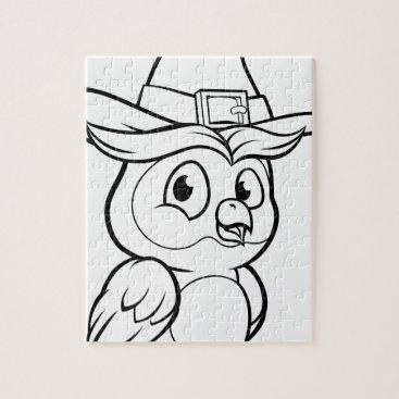 Halloween Themed Cartoon Owl Character Jigsaw Puzzle