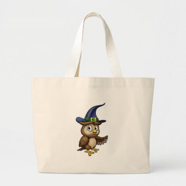 Halloween Themed Cartoon Owl Character Large Tote Bag