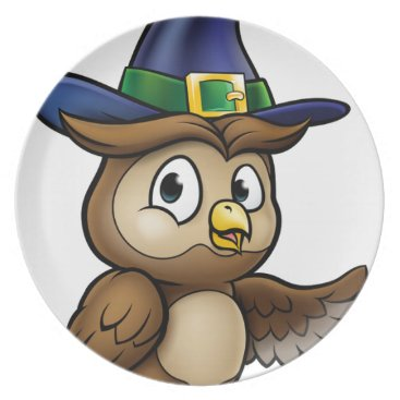 Halloween Themed Cartoon Owl Character Melamine Plate