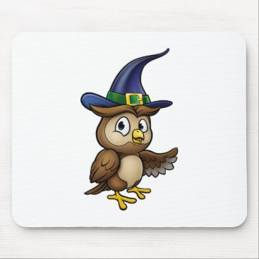Halloween Themed Cartoon Owl Character Mouse Pad