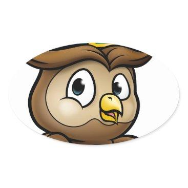 Halloween Themed Cartoon Owl Character Oval Sticker