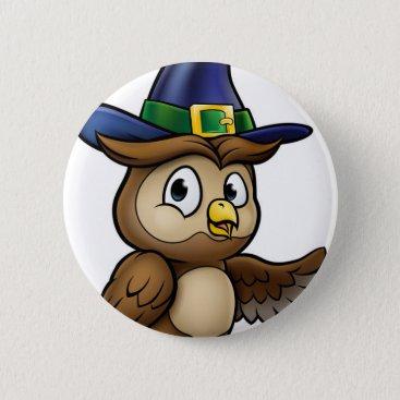 Halloween Themed Cartoon Owl Character Pinback Button