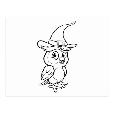 Halloween Themed Cartoon Owl Character Postcard