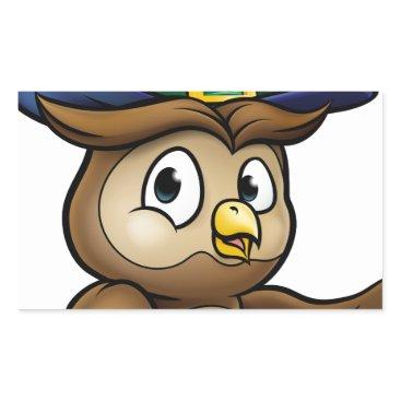 Halloween Themed Cartoon Owl Character Rectangular Sticker