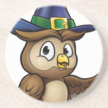 Halloween Themed Cartoon Owl Character Sandstone Coaster