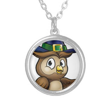 Halloween Themed Cartoon Owl Character Silver Plated Necklace