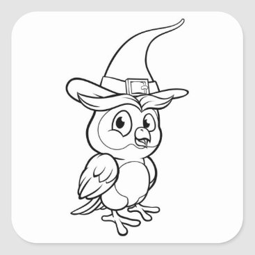 Halloween Themed Cartoon Owl Character Square Sticker