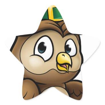 Halloween Themed Cartoon Owl Character Star Sticker