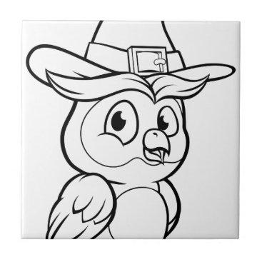 Halloween Themed Cartoon Owl Character Tile