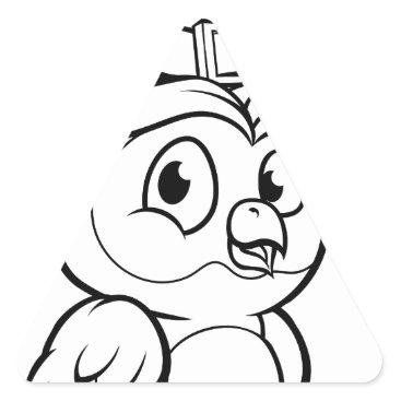 Halloween Themed Cartoon Owl Character Triangle Sticker