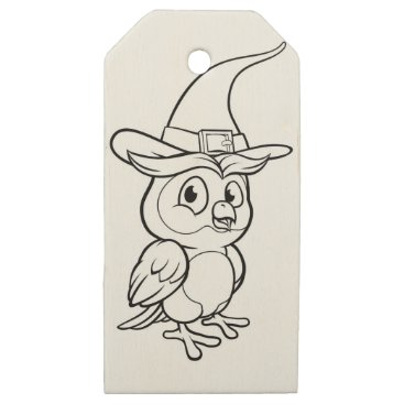 Halloween Themed Cartoon Owl Character Wooden Gift Tags