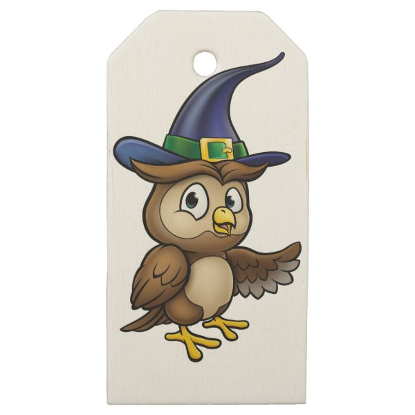Cartoon Owl Character Wooden Gift Tags