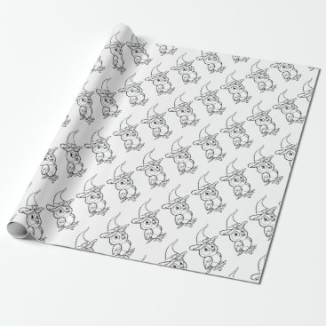 Halloween Themed Cartoon Owl Character Wrapping Paper