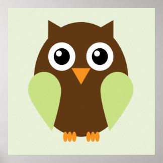 Cartoon Owl Children s Wall Art Green Posters