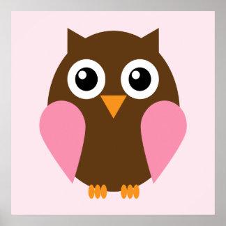 Cartoon Owl Children s Wall Art Pink Poster