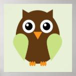 Cartoon Owl Children's Wall Art {Green} Poster