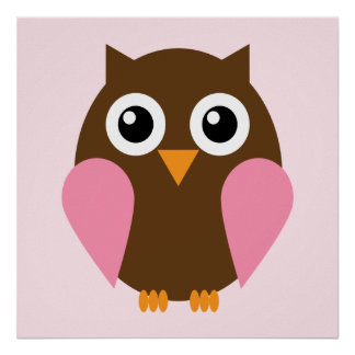 Cartoon Owl Children's Wall Art {Pink} Poster