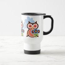 cartoon owl coffee travel mug