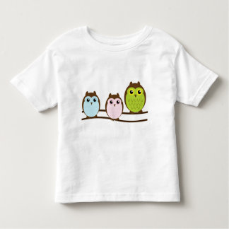 Cartoon Owl Family In A Row Toddler T-shirt