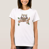Cartoon Owl fun womens t-shirt