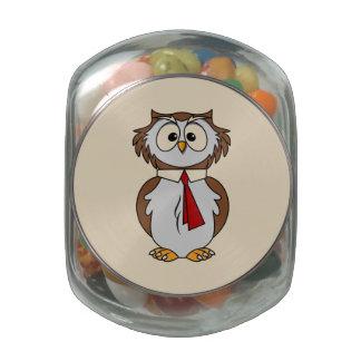 Cartoon Owl Glass Candy Jars
