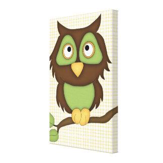 Cartoon Owl (green) Canvas Print