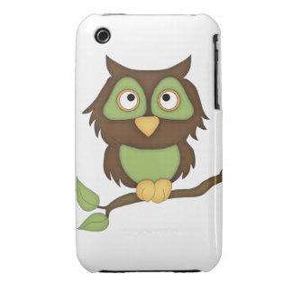 Cartoon Owl (green) iPhone 3 Covers