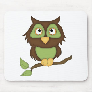 Cartoon Owl (green) Mouse Pad