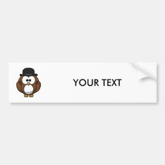Cartoon Owl in Bowler Hat Bumper Sticker